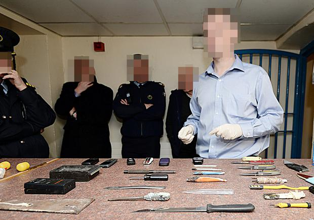 File picture of weapons and mobile phones confiscated               from prisoners in Mountjoy
