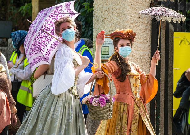 Extras on the set of Disney's 'Disenchanted' on the first day of filming in Enniskerry