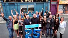 Fair City cast celebrate the show's 25th anniversary on set.