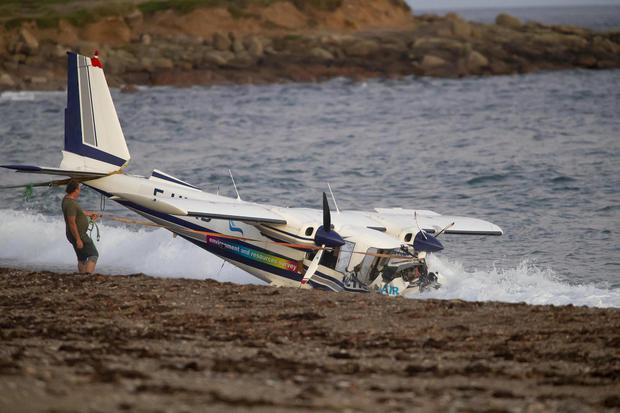 The scene of the plane crash, Carnsore Point, Co Wexford.