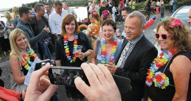 Graham Norton meets fans before hosting the table quiz in Ahakista, Co Cork