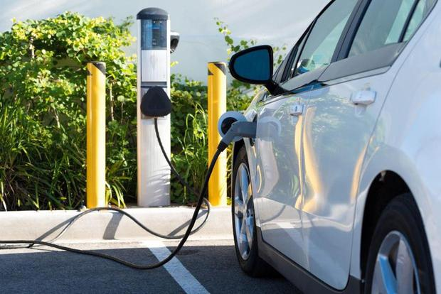 Electric car charging point. Government policy is to get one million electric vehicles on the road by 2030.