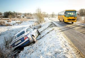A car stuck in a ditch after sliding off an icy road in Ballymote, Co Sligo, yesterday. Photo: James Connolly