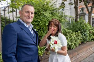 Ben Prenter and Sandra Williams after getting married at the Dublin registry office.