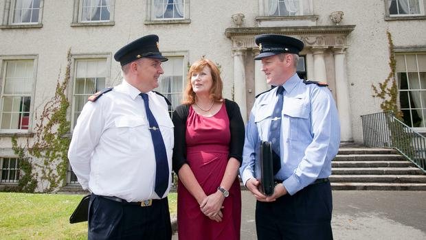 Garda Superintendent Peter Duff, left, Therese Langan of Dún Laoghaire-Rathdown Co Council and Inspector Derek Maguire during a press briefing ahead of concerts at Marlay Park, Dublin