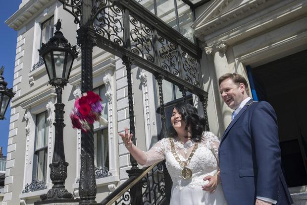 Lord Mayor of Dublin Hazel Chu with her husband Patrick Costello at their wedding at the Mansion House in Dublin. (Picture: Arthur Carron)