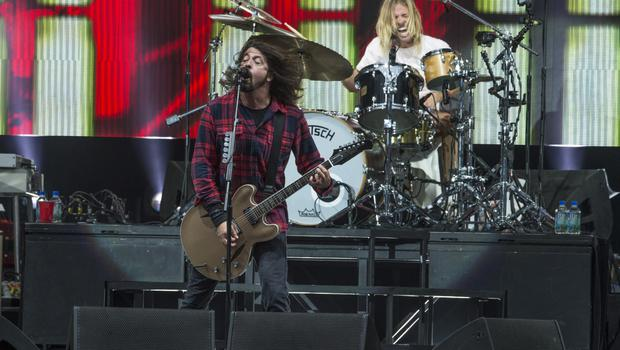 ROCK GODS: Dave Grohl and Taylor Hawkins of Foo Fighters at Slane Castle yesterday. Photo: Arthur Carron