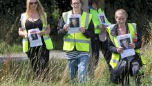 Volunteers helping to search in Santry Park for 81-year-old Thomas Kennedy, who went missing in the Virginia Park area of Finglas in Dublin