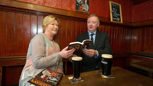 Author Declan Dunne and RTE newsreader Eileen Dunne at Mulligan's pub, Poolbeg Street
