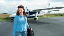 Maura Derrane getting off a Aer Arann Flight in Connemara airport, Indreabhain Galway