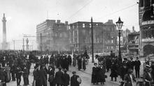 Dublin's O'Connell Street lies in ruins after the Easter Rising in 1916
