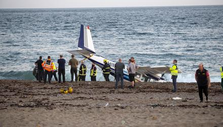The scene of plane crash at Carne Beach, Co Wexford. Picture: Mary Browne