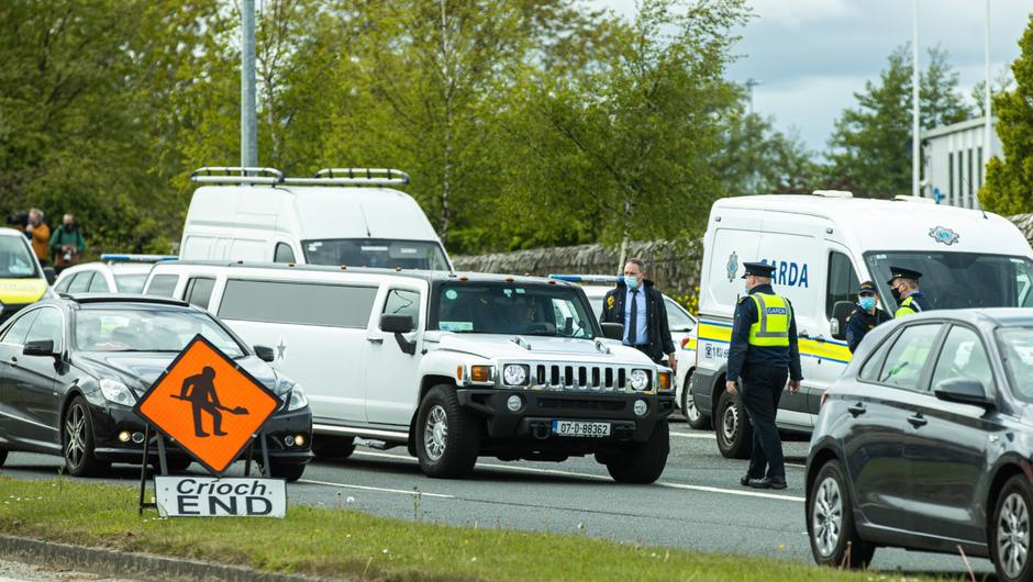 A heavy garda presence is in place outside a halting site in South Dublin where a wedding reception was planned for this evening