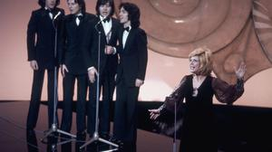 Douze points: French singer Séverine, the winner of the 1971 Eurovision Song Contest, sings Un Banc, Un Arbre, Une Rue for Monaco, on stage at Dublin's Gaiety Theatre.