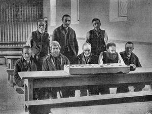 Inmates: A group of men in the dining hall at the Bailieborough Union workhouse, Co Cavan, circa 1895