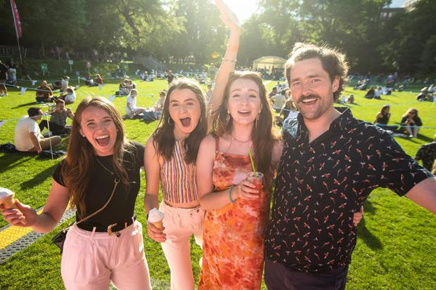 Concert goers enjoying Irelands first live gig since the Covid 19 pandemic at Iveagh gardens Dublin. Pic:Mark Condren