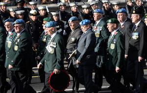 The Irish United Nations Veterans Association at the Cenotaph memorial in Whitehall, central London. Photo: PA