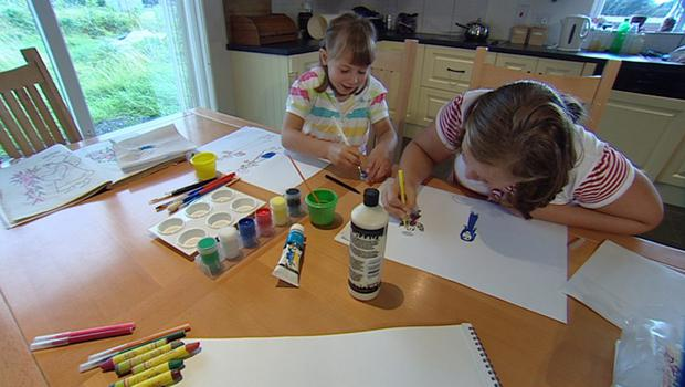 Orlagh and Katie Doyle painting angels  Orlagh and Katie Doyle painting angels which features in a brand new series of seven visual reflections for The Angelus broadcast daily on RTÉ One Television at 6.00pm.