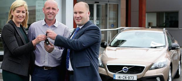 Declan Hannon with Arlene Regan, marketing and promotions manager at the Irish Independent, and Conor Fitzpatrick, sales manager, Volvo Car Ireland