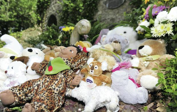 Teddy bears and toys which had been fixed on the railings at Bessborough, Cork have been moved to the 'Little Angels' plot in the graveyard at Bessborough. Photo credit: Michael Mac Sweeney/Provision