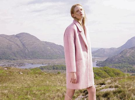 A cocoon-shaped dusty pink coat (€30) was snapped at Lady's View