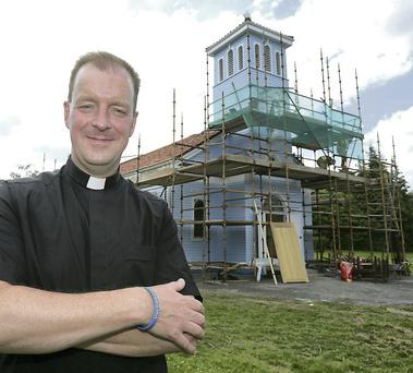 Fr Andrew O'Sullivan pictured outside Our Lady of the Wayside Church in Kilternan