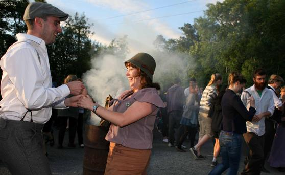 Local schoolteacher and Sean Nos dancer Edwina Guckian rolled out the barrels and organised a 'shout out' for a dance at a quiet crossroads in Effrinagh, Co Leitrim. Photos: Brian Farrell