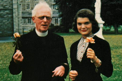 Jacqueline Bouvier Kennedy with Fr Joseph Leonard in Dublin. Photo: Sheppards Irish Auction House