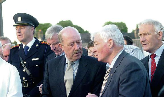 Martin Callinan speaks to Andy Reilly, who was part of the committee who organised the memorial to Garda Hugh Ward