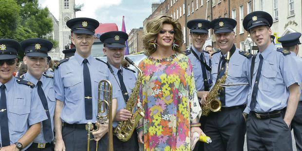 Panti with members of the Garda Band at Pride in Dublin over the weekend.