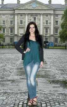 Sarah Jane Dunne outside Trinity College. VIPIreland.com