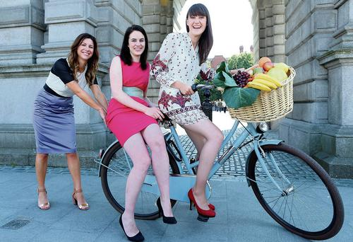 Christine Heffernan , Corporate Affairs Director Tesco Ireland with in centre Aoibheann O'Brien and on right Iseult Ward