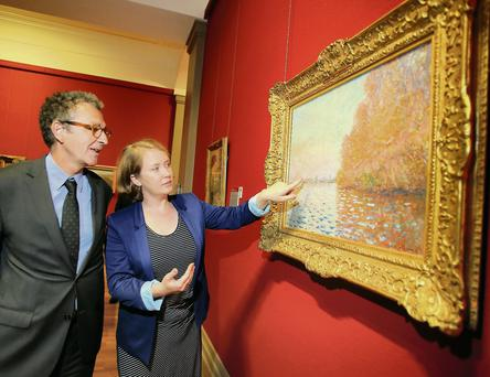 Pearl O'Sullivan and Jean-Jacques Gordan admire the restoration of Monet's 'Argenteuil Basin with a Single Sailboat'