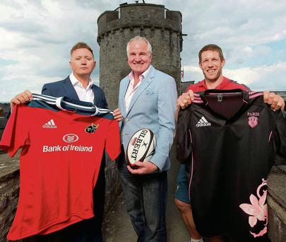 Tim Magee, Brent Pope and Colm McMahon at the launch of the Limerick World Club Sevens event. Photo: INPHO/Morgan Treacy
