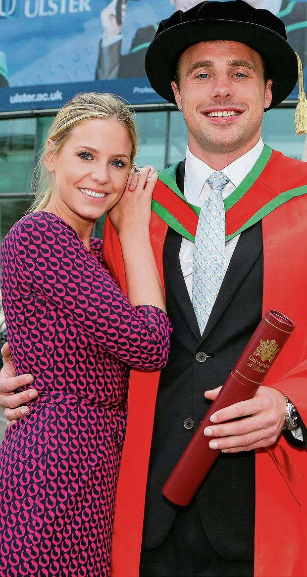 Ulster and Ireland rugby player Tommy Bowe and his fiance Lucy Whitehouse