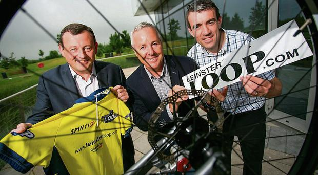 Peter Jackson of Aryzta Food Solutions with (centre) Stephen Roche and Johnny Doyle are in the Leinster Loop challenge
