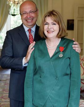 Mary Lawlor receives her prestigious award from the French ambassador to Ireland, Jean-Pierre Thebault
