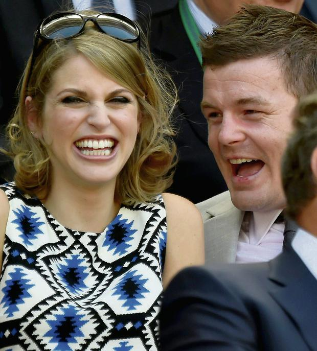 Brian O'Driscoll and wife Amy Huberman enjoy the fun Centre Court at the Wimbledon Tennis Championships