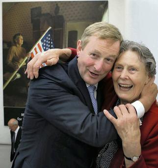 Enda Kenny hugs Julia Hayes at the official opening of the President Barack Obama Visitor Centre in Moneygall, Co Offaly. Brian Gavin/Press 22