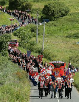 Marchers take part in the annual Rossnowlagh Orange parade in County Donegal