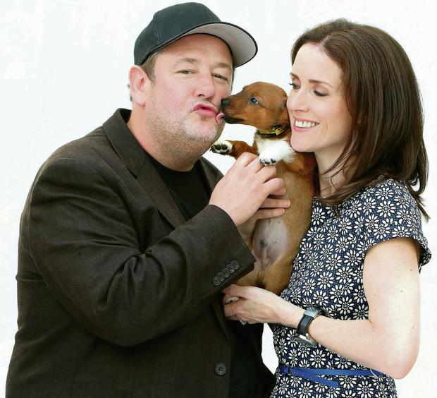 Johnny Vegas and his wife broadcaster Maia Dunphy at the launch of Dog Trust's charity ball