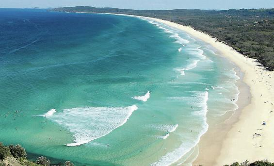 An aerial view of Byron Bay where an Irish man went missing