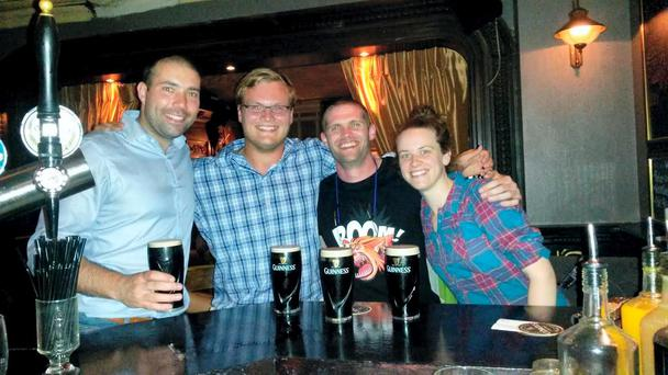 American tourist Joe (second from left) with Good Samaritans Hugh, Cathal and Katy