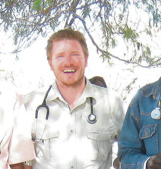 Dr Gabriel Fitzpatrick (third from left) with MSF colleagues in Western Chad four years ago where he helped contain a cholera outbreak.
