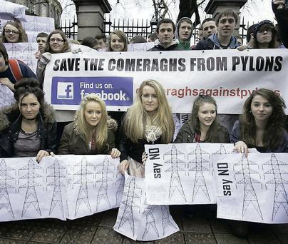 A protest outside the Dail against the siting of pylons in the Comeraghs