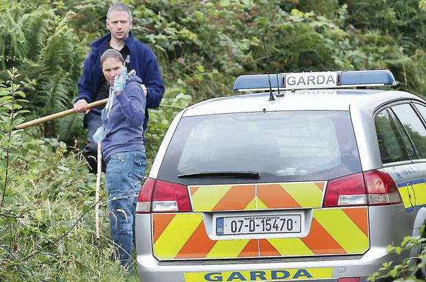 Gardai at the scene of the discovery of Paul 'Ralph' Gallagher's body at Ballymacan, Co Meath