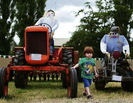 The festival also includes the All Ireland Scarecrow Championships. Inset, a scarecrow installation called Mrs Brown's Buoys on the banks of the Erkina River. Brian Lawless/PA Wire