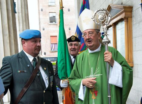 Archbishop Diarmuid Martin with representatives of the Organisation of National Ex-Servicemen, the Royal British Legion Ireland, and others attended The centenary of the outbreak of World War One officially commemorated with a memorial Mass today Sunday August 3rd at St. Mary's Church, Pro Cathedral, Marlborough Street and celebrated by Archbishop Diarmuid Martin. 3/8/2014. Picture by Fergal Phillips.
