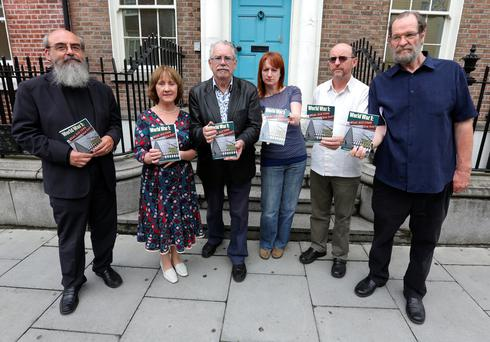 From left to right are Rev Patrick Comerford, Patrcia McKenna chairperson of the People's Movement, TD Clare Daly, artist Robert Ballagh, John Molyneux, secretary of the Irish Anti War movement, (IAWM) steering committee, and Jim Roche, PRO of the IAWM