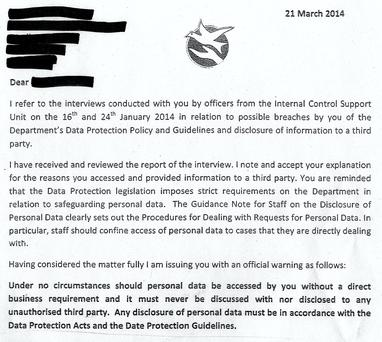 A warning letter issued to staff in March